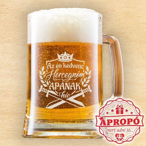 Gravírozott söröskorsó apának. Az én kedvenc hercegnőm apának hív felirattal gravírozott söröskorsó.